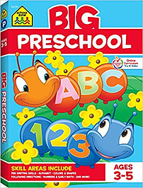 School Zone – Big Preschool Workbook – Ages 4 and Up, Colors, Shapes, Numbers 1-10, Alphabet